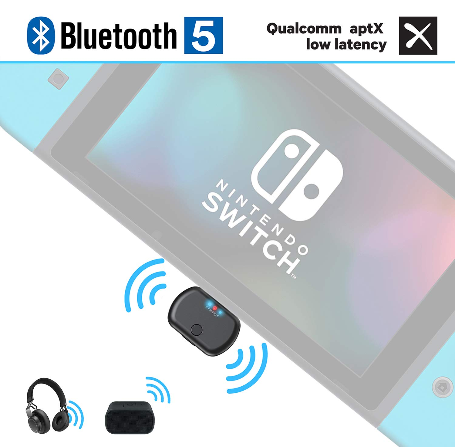 BANIGIPA Bluetooth Transmitter Adapter for Nintendo Switch PS4 PC Laptop, USB Type C Wireless Audio Dongle Adaptor with aptX Low Latency, in-Game Voice Chat, Plug and Play, Dual Link to Headphones by BANIGIPA