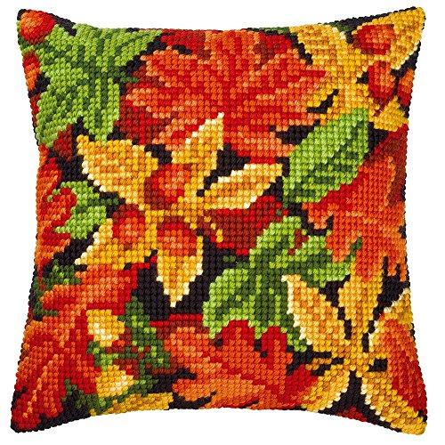 Vervaco Autumn Leaves Pillow Cover Needlepoint Kit