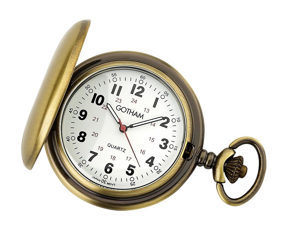 Gotham Men's Antique Gold-Tone Covered Quartz Pocket Watch # GWC15043AR