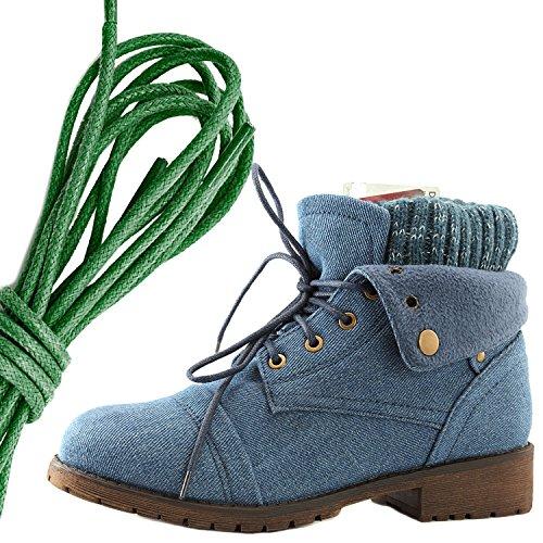 Dailyshoes Da Donna Stile Combattimento Lace Up Maglione Stivaletto Alla Caviglia Con Taschino Per Porta Carte Di Credito Tasca Porta Soldi, Denim Verde Blu Scuro