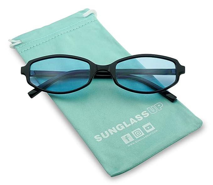 fc97e28834053 SunglassUP - Retro Vintage 90 s Slim Narrow Color Tone Sunglasses  Rectangular Oval Shades (Black Frame