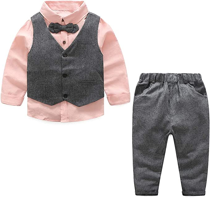 Yilaku Conjunto de Traje Formal para Caballero Niños Chaleco + Pantalones + Camisa + Pajarita, Traje de Boda de Esmoquin de Manga Larga para Bebés: Amazon.es: Ropa y accesorios