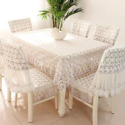 Gz European Table Cover Chair Cushion Set Table Cloth Rectangular Lace Dining Table Chair Cover Modern Household 110 110cm Amazon De Kuche Haushalt