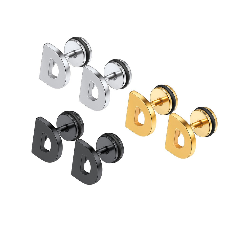 Initial Letter Earrings, A-Z,3 Pairs/Set in Gold/Black/Silver Color, 316L Stainless Steel, Surgical Hypoallergenic PSE2978 PROSTEEL Jewelry 3PSE2981JGH-NA