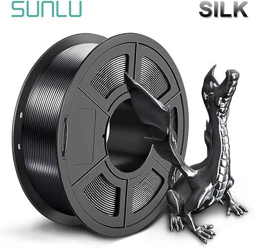 SUNLUシルクPLA3Dプリンタフィラメント1.75mm金属の質感、精度+/-0.02mm、3Dプリンター3Dペン用(1kg黒/ブラック)