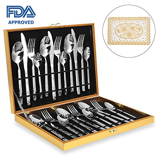 Amz Soaring Silverware Set, Stainless Steel Flatware Cutlery Set, 24 pcs Kitchen Dinnerware Tableware Utensil Set Service for 6 Include 6 Exquisite Place Mats