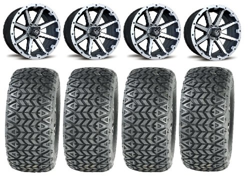 "Bundle - 9 items: Fairway Alloys Rebel Golf Wheels 12"" 23x10-12 All Trail Tires"