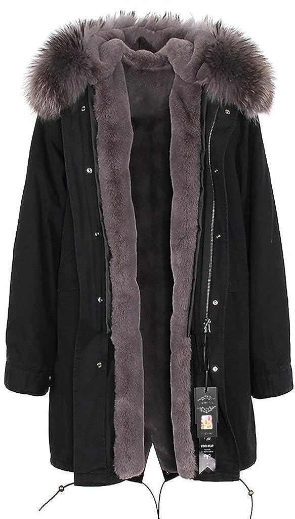 Black & Dark Grey S.ROMZA Women Hooded Parka Jacket Warm Faux Fur Lining Long Winter Thicken Coat