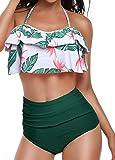 Huiyuzhi Womens High Waisted Bikini Bottom Falbala Flounce Halter Neck Two Piece Swimsuit Bathing Suit