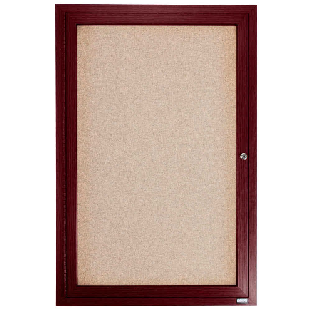 TableTop King CBC3624R 36'' x 24'' Enclosed Indoor Hinged Locking 1 Door Bulletin Board with Cherry Frame