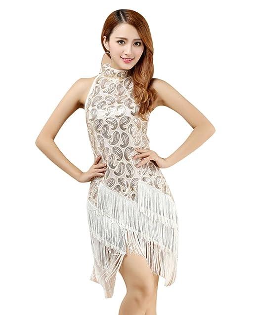 YiJee Mujer Lentejuelas Vestido de baile Latino Elegante Borla Vestido de Fiesta Blanco
