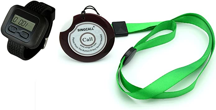 Home Nursing with Necklace Pager SINGCALL Wireless Nurse Pager Calling Systems