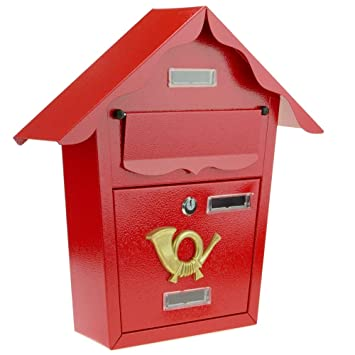 PrimeMatik - Buzón metálico para Cartas y Correo Postal de Color Rojo 366 x 100 x 370 mm