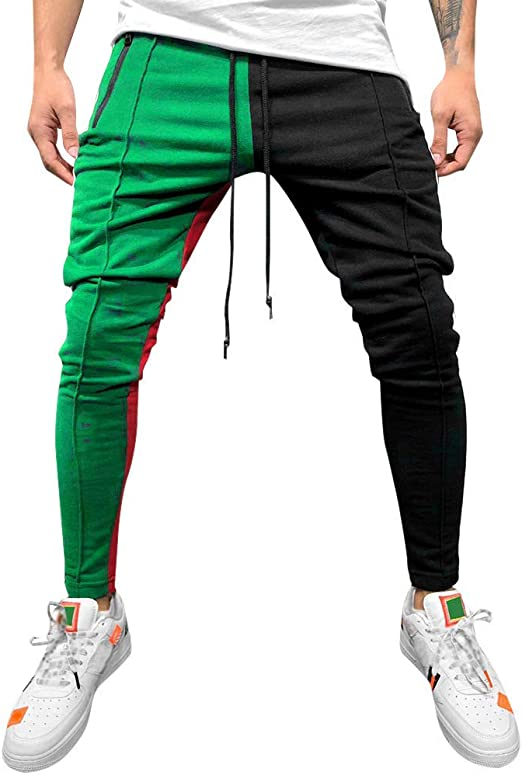 wodceeke Fashion Mens Joggers Solid Color Patchwork Drawstring Sweatpants Pants Slim Fit Trousers