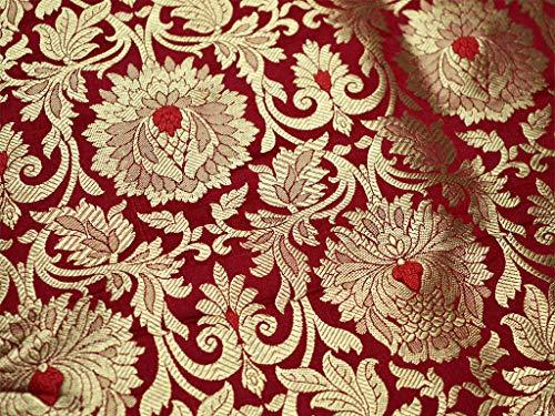 Red Brocade Fabric, Banarasi Brocade Fabric by The Yard, Banaras Brocade Red Gold Weaving for Wedding Dress, Indian Art Silk]()