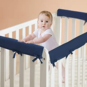 3-Piece Baby Crib Rail Cover for Teething, Safe Teething Guard Wrap for Standard Crib, Soft Batting Kids Padded Crib Rail Protector from Chewing, Fits 2 Side and 1 Front Rails(Navy Blue)