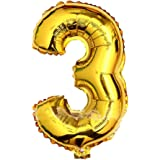 """Babytree Numbers 0-9 Birthday/Party Balloons (3), 40"""", Gold"""