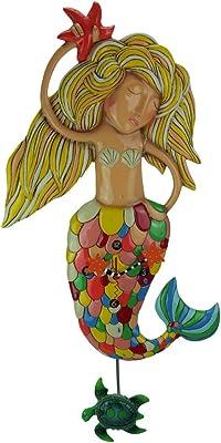 "Allen Designs ""Sirena"" Extra-Large Whimsical Mermaid Pendulum Wall Clock"