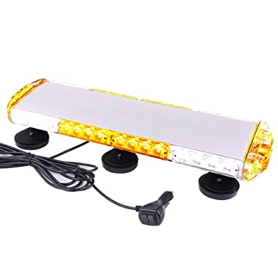 "ASPL 21"" Emergency Mini LED Light bar, 38LED 3 Watt Low Profile Roof Mount Strobe Light Bar, With Strong Magnet Base,for All 12-24V Emergency Vehicle (Amber/White): Automotive"