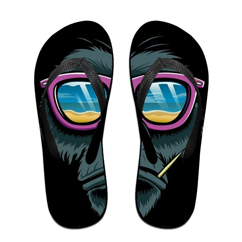Unisex Summer Beach Slippers Cool Gorilla Sunglasses Flip-Flop Flat Home Thong Sandal Shoes