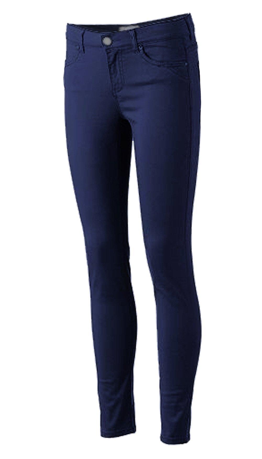 Pro5 Girls Junior School Uniform Skinny Stretched Pants Black/Navy/Khaki/Grey 0~15 (13, NAVY)