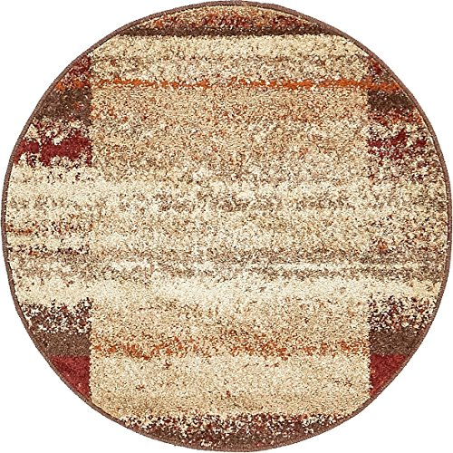 Unique Loom Autumn Collection Rustic Border Casual Warm Toned Beige Round Rug (3' 3 x 3' 3)