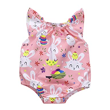 0da66eb8175 Easter Eggs Bunny Romper Baby Girls Outfits Sleeveless Bodysuit Infant Kids  Jumpsuit Playsuit Summer Clothes (