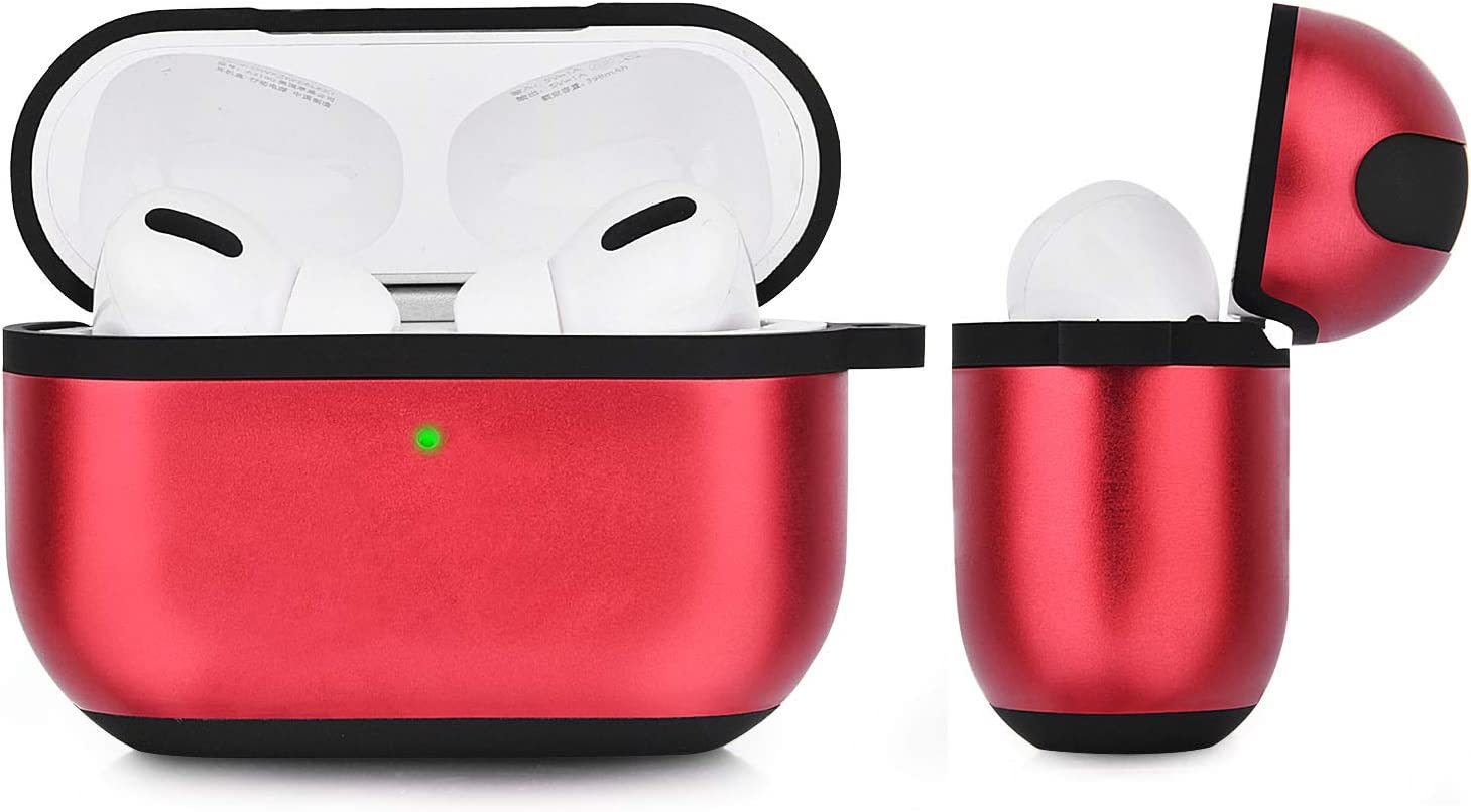 Metal Protective Carrying Case Skin with Keychain for Apple Airpod Pro Charing Case 2019 V-MORO Compatible AirPods Pro Case Cover Visible Front LED Red