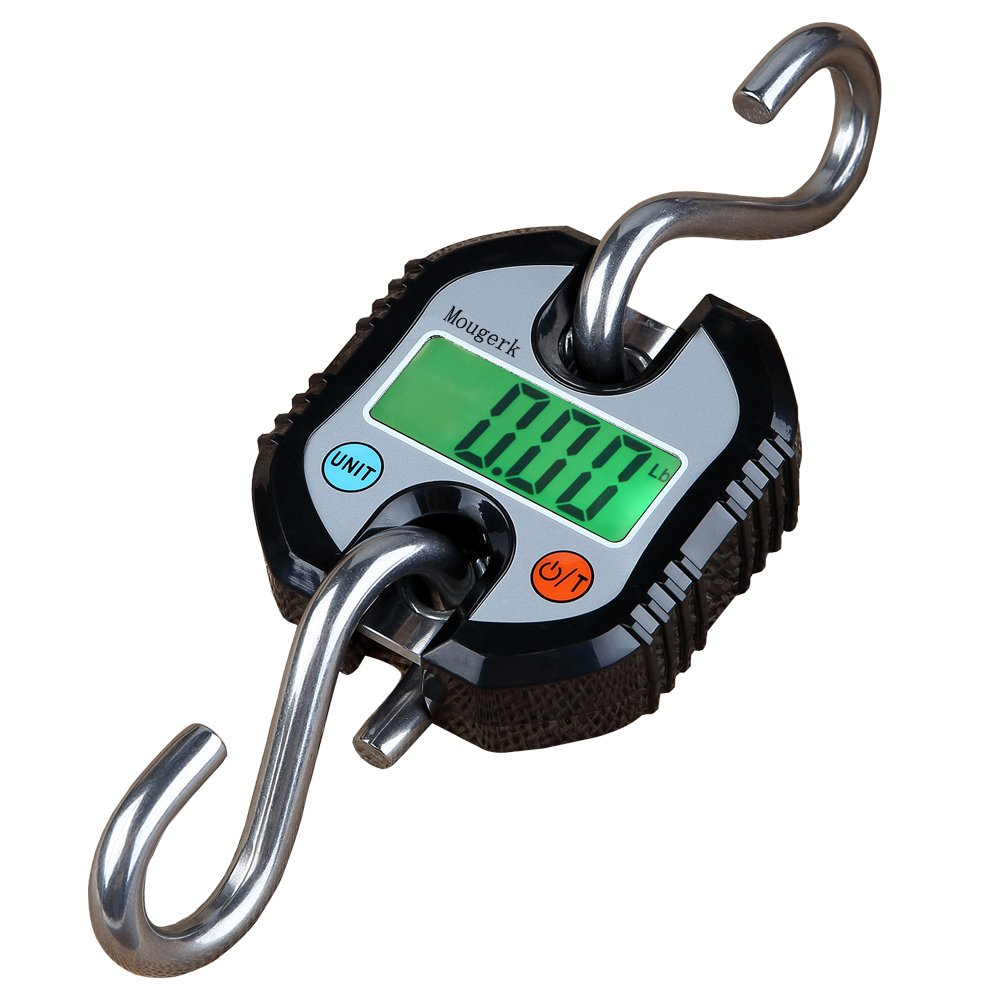 Mougerk Digital Hanging Scales Portable Heavy Duty Crane Scale 150 kg 300 lb 2 AAA Batteries(Not Included) (Black) by Mougerk