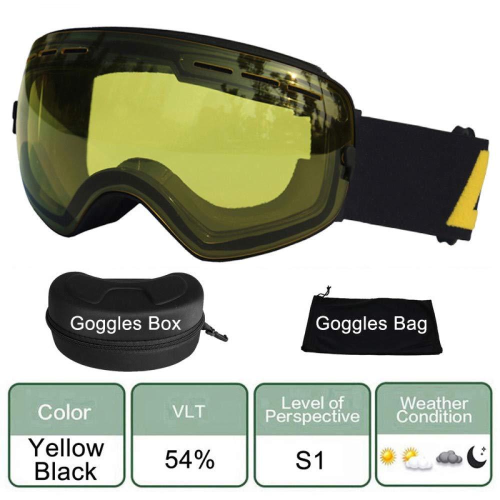 jaune noir  LOLIVEVE Lunettes De Ski Sphériques à Double Lentille Uv400 Lunettes De Ski Anti-Buée Neige Ski Lunettes De Snowboard Ou Masques De Ski