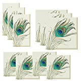 Peacock Napkins Set Feather Napkins in 3 Sizes: Guest Towels, Dinner/Luncheon Size & Cocktail Napkins