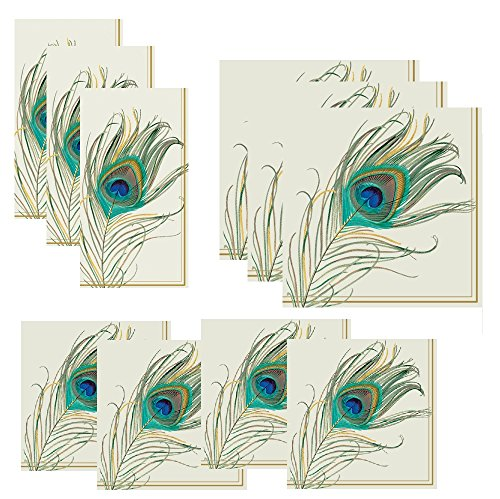 FAKKOS Peacock Napkins Set Feather Napkins in 3 Sizes: Guest Towels Dinner/Luncheon Size amp Cocktail Napkins