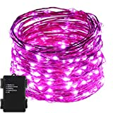 ER CHEN(TM)Indoor and Outdoor Waterproof Battery Operated 200 LED String Lights on 66 Ft Long Ultra Thin Copper String Wire with Timer (Purple)