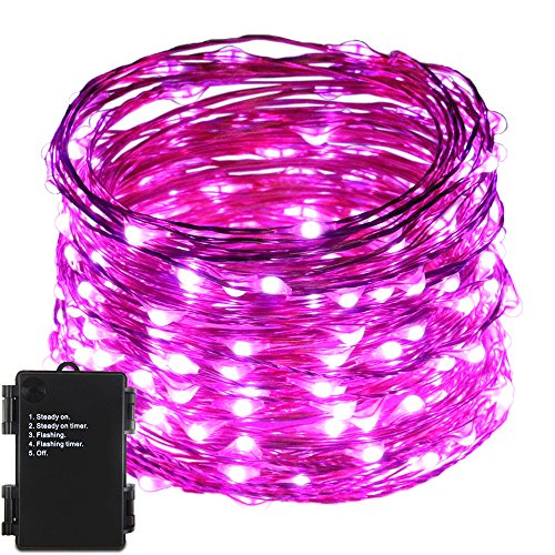 ER CHEN(TM)Indoor and Outdoor Waterproof Battery Operated 200 LED String Lights on 66 Ft Long Ultra Thin Copper String Wire with Timer (Purple) by ErChen
