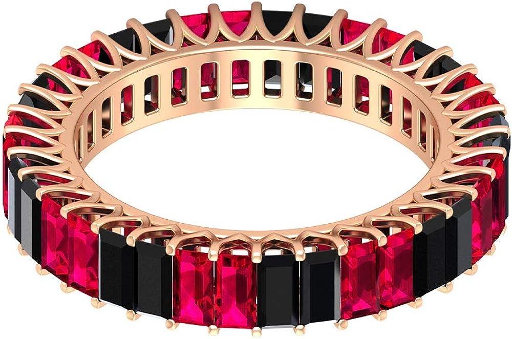 Anillo de boda único, 2,8 ct 2 x 4 mm, anillo alternativo de rubí baguette, anillo de eternidad de espinela negra de 2 quilates, anillo de piedra natal de julio, anillo de promesa, 14K Oro
