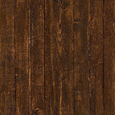 Brewster Timber Dark Brown Wood Panel Wallpaper