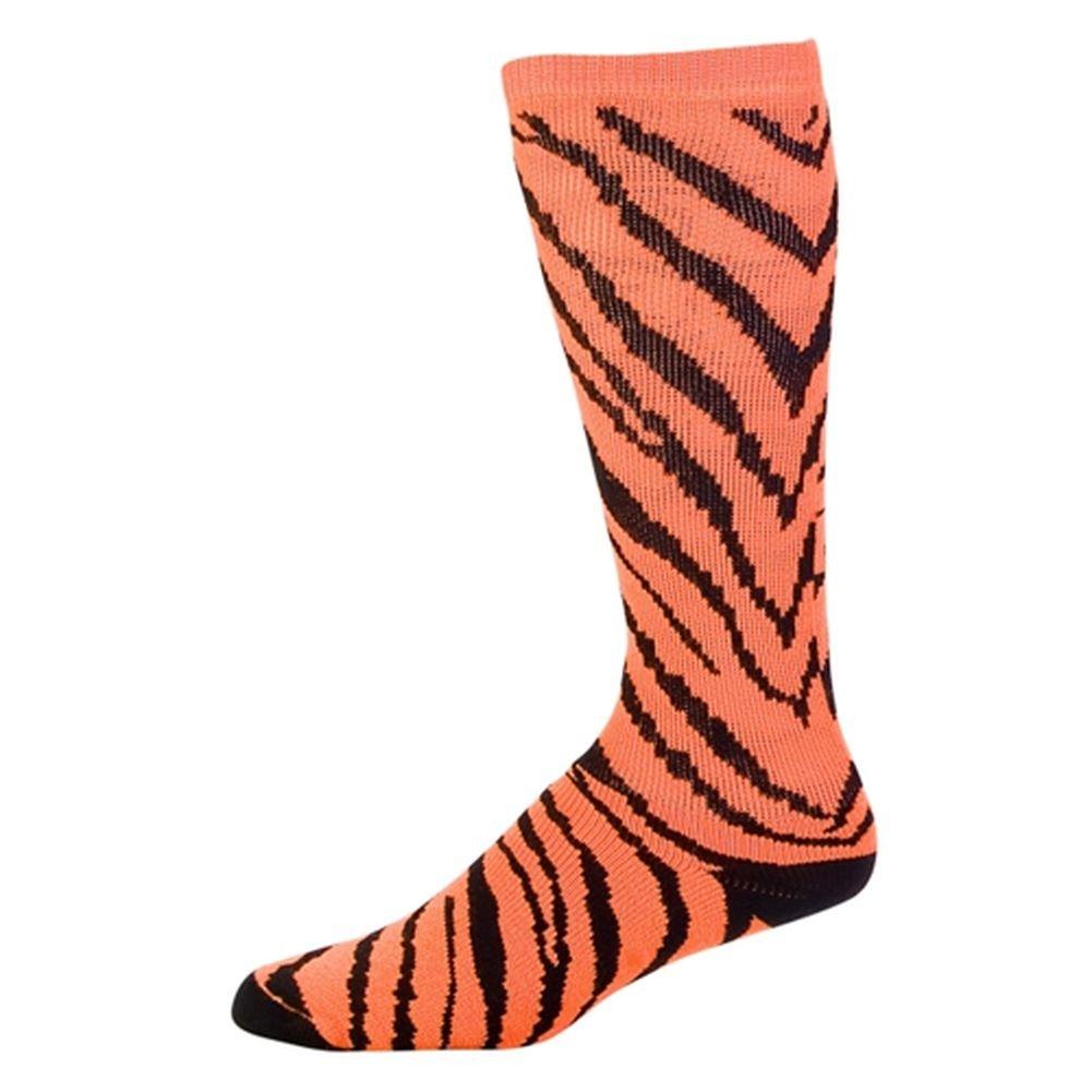 Pizzazz Girls Neon Orange Zebra Stripe Knee Hi Socks Cheer Dance 12-5 by Pizzazz