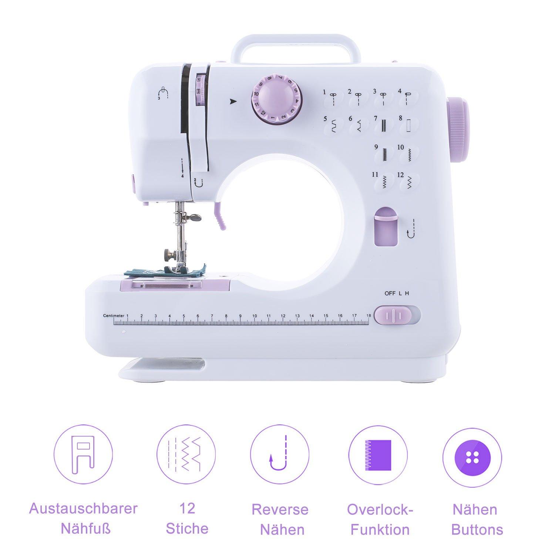Mini Nähmaschine Klein 12 Nähprogramme für Anfänger Einsteiger ...