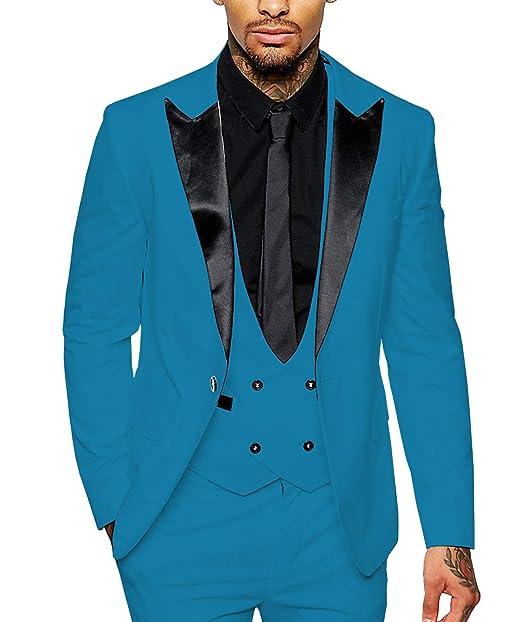 Amazon.com: Traje para hombre de 3 piezas, diseño de Blazer ...