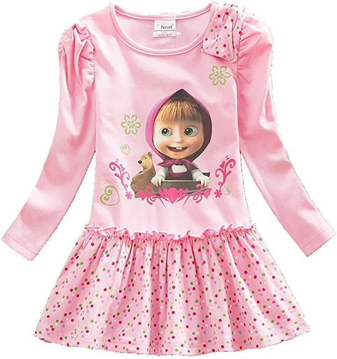 Vestido de algodón de Manga Larga para niñas Faldas de Punto de ...