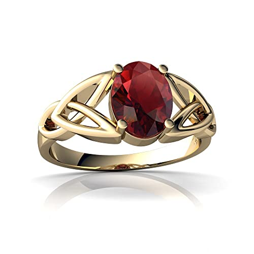 14kt Gold Garnet 8x6mm Oval Celtic Trinity Knot Ring