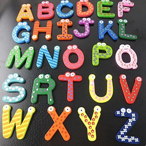 26pcs Letters Baby Toys Kids Wooden Alphabet Fridge Magnet Child Educational Toy(BB0038) (Refrigerator Magnet Letters)