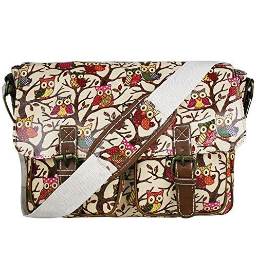 Bolso para la escuela estilo mensajero para mujer con flores y lunares, con correa al hombro, de tela impermeable - Owl Beige