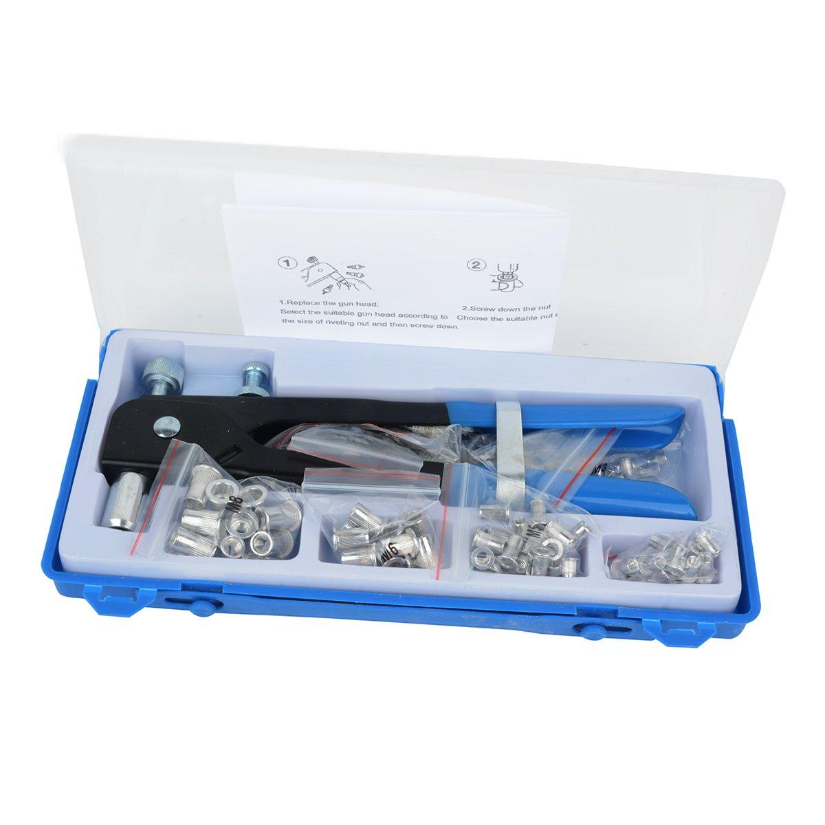 Rivet Nuts Set 1064 Pcs Blind Rivet Nuts Rivnut Nutsert Insert Tool Rivnuts Set Kit Assort M3 to M8 in Box