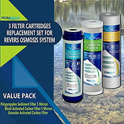 5 Stage Reverse Osmosis Filter Replacement Set, gac, carbon and sediment