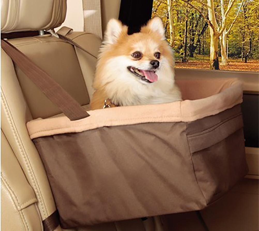 Brown LAMEI Pet Booster Seat Lookout,Car Seat Carrier Bag for Pet Cat Puppy