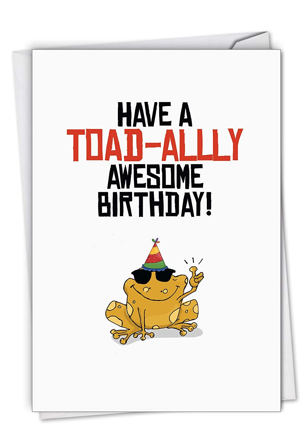Amazon Birthday Puns Frog Card Featuring Puntastic Wishes For Another Year With Envelope C6119HBDG Office Products