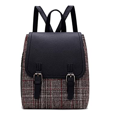d71a1f0165 Vintage Women Backpack PU Leather Plaid Panelled Backpacks For Teenage  Female Girl School Bag