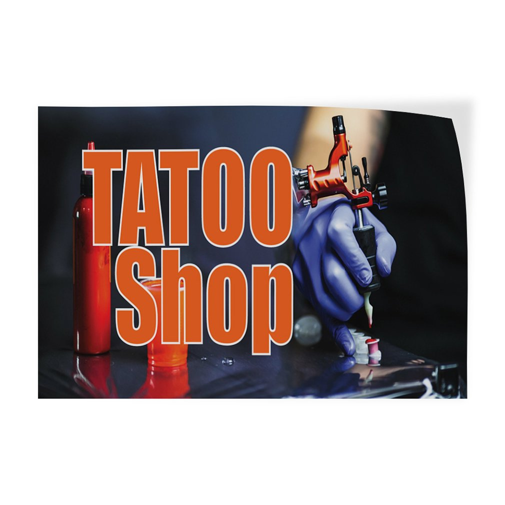 Set of 5 27inx18in Decal Sticker Multiple Sizes Tatoo Shop #1 Business Tatoo Shop Outdoor Store Sign Black