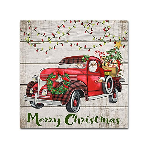 Vintage Christmas Truck 3 by Jean Plout, 35x35-Inch Canvas Wall ()